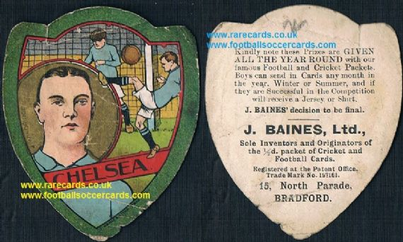 1909 Jimmy Windridge Small Heath Brum Chelsea Middlesbrough & England Baines card